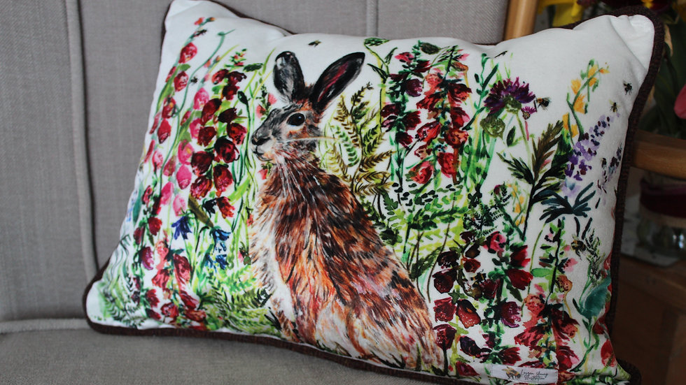 Hare Velvet Cushion