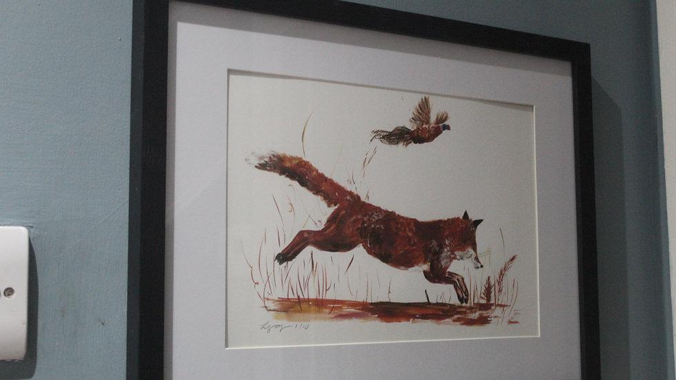 Limited Edition Fox and Pheasant Framed Print 44cm x 34cm