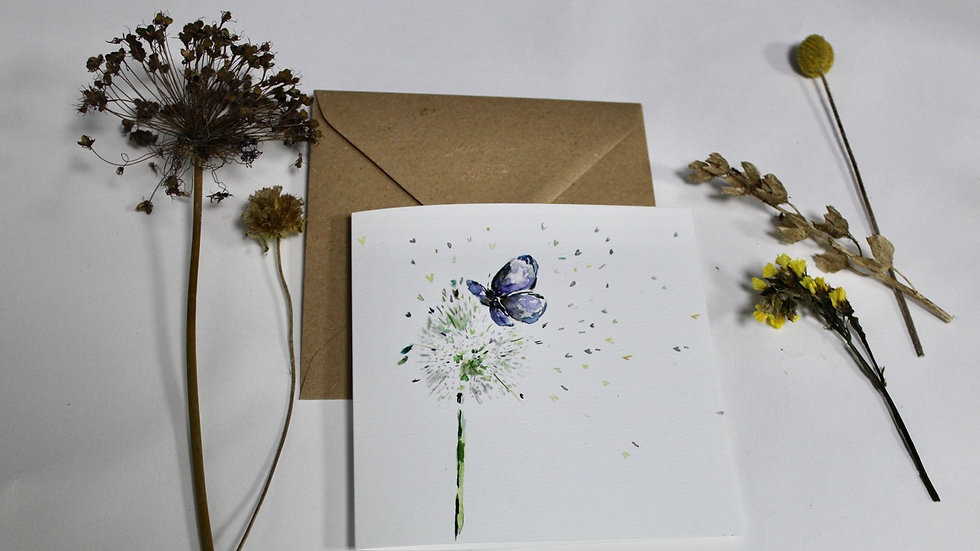 Dandelion and butterfly square greeting card