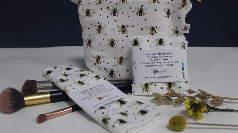 Bee make up bag and wipe set