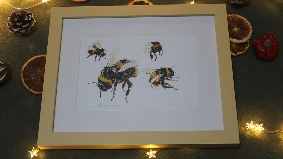 Hovering Bees Framed Print