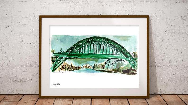 Tyne Bridge Watercolour Print