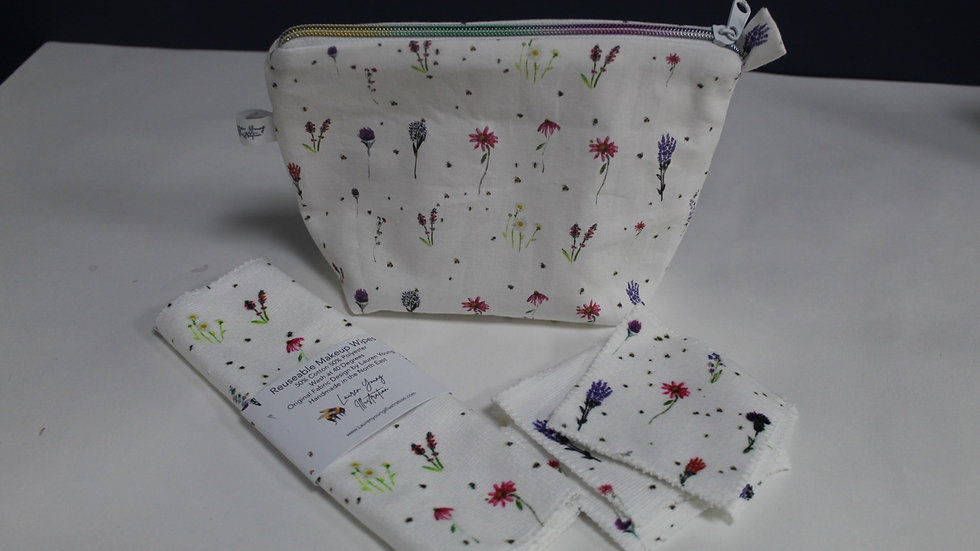 Wildflower Makeup bag and wipes set