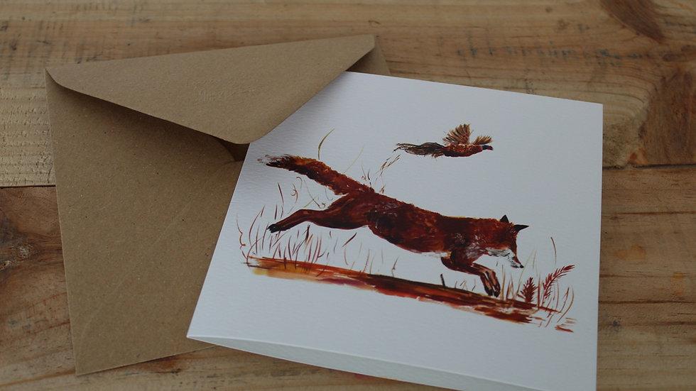 Fox and pheasant greetings card