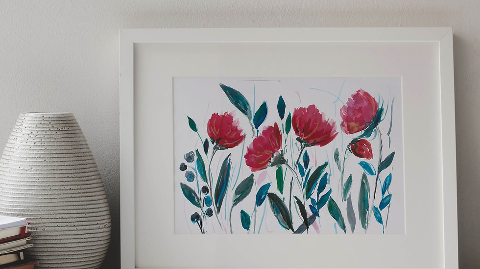 Red Flowers Watercolour Print A4