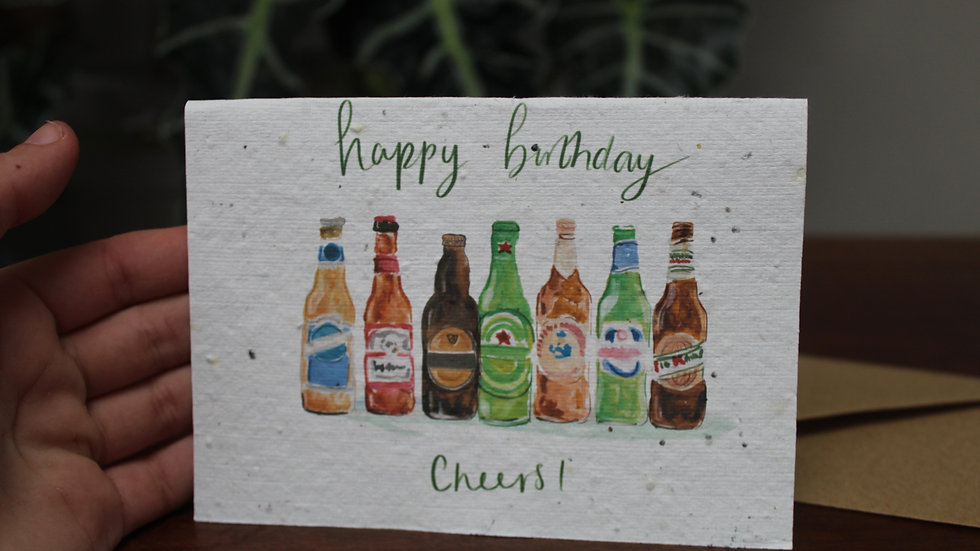 Plantable Greetings Card, Birthday Beers