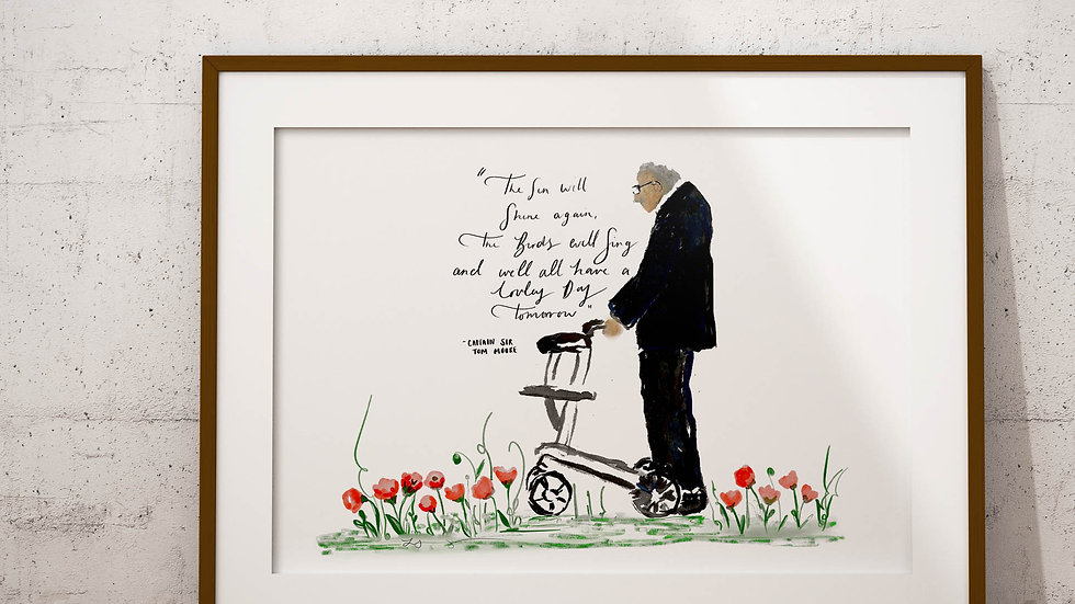 Sir captain Tom Moore Memorial Print A4