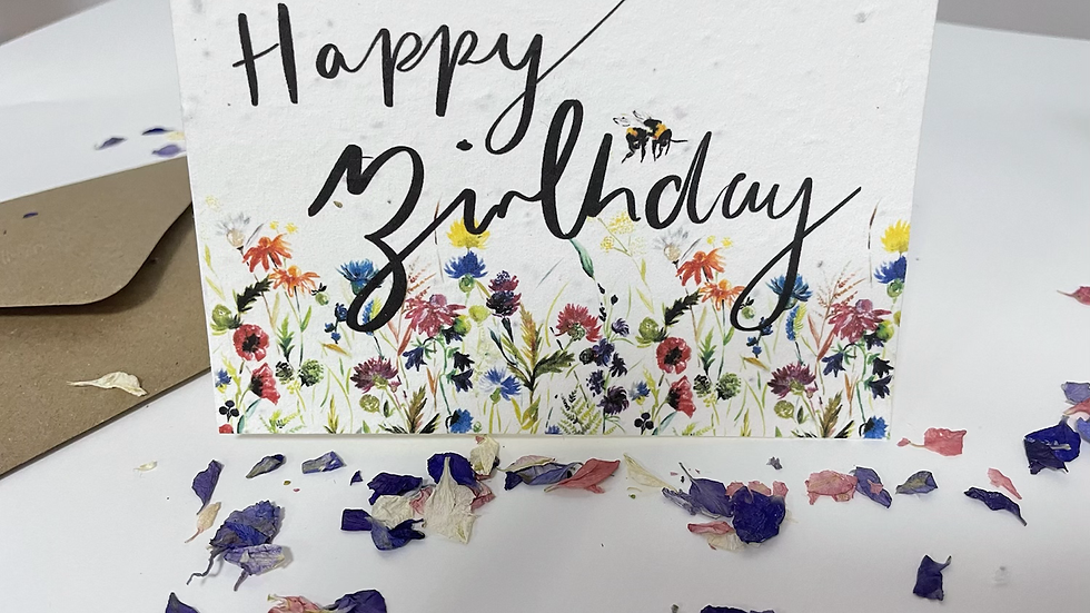 Plantable wildflower Happy birthday greetings card