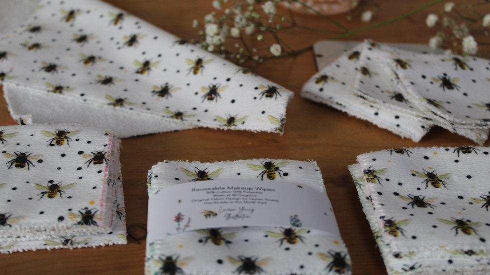Reuseable Makeup Wipes Bee Design pack of 7