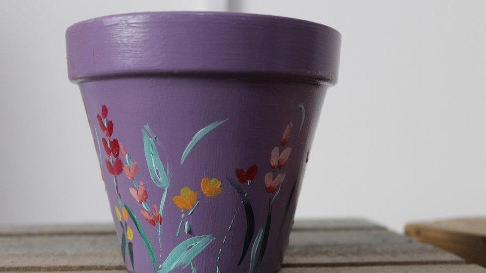 Hand painted plant pot, purple spring flowers