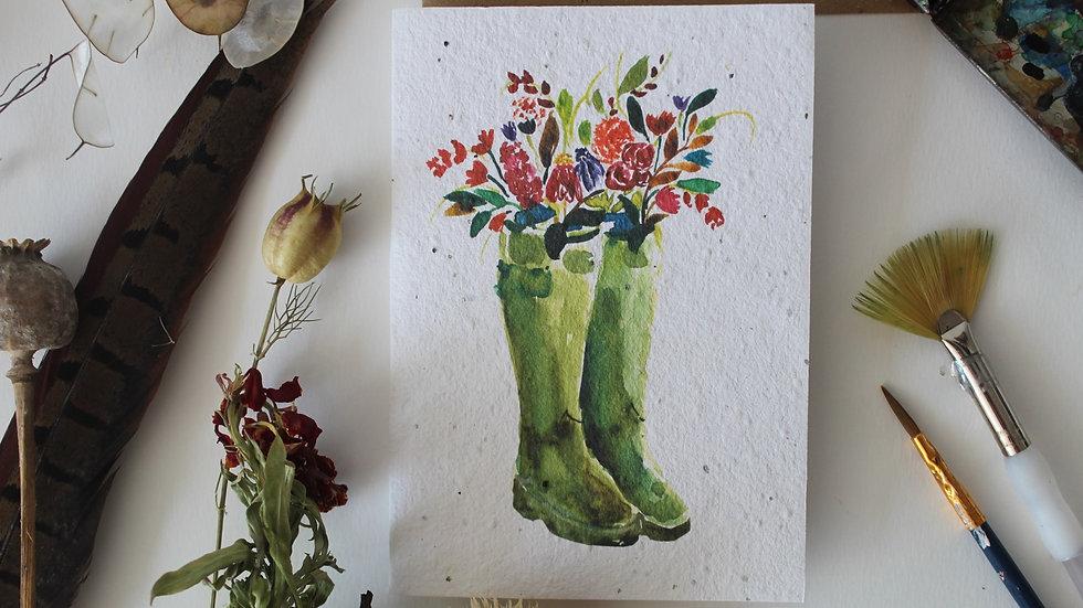 Plantable Floral Wellies greetings Card