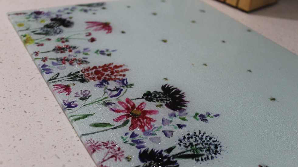 Large Wildflowers and Bees Work Top Saver /  Chopping Board