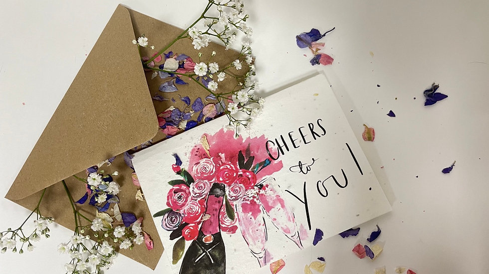 Plantable Cheers to you  celebration greetings card
