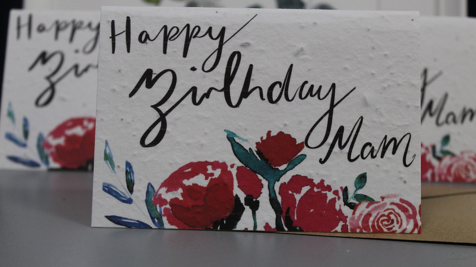 Happy birthday Mam plantable seed cards, samples seconds sale!