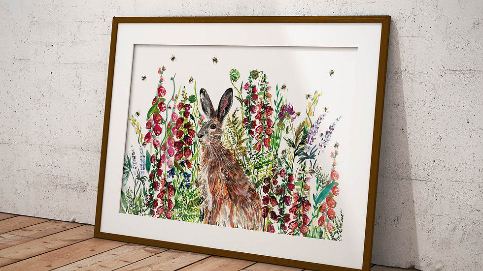 Hare in wildflowers 2.0 A3 Print