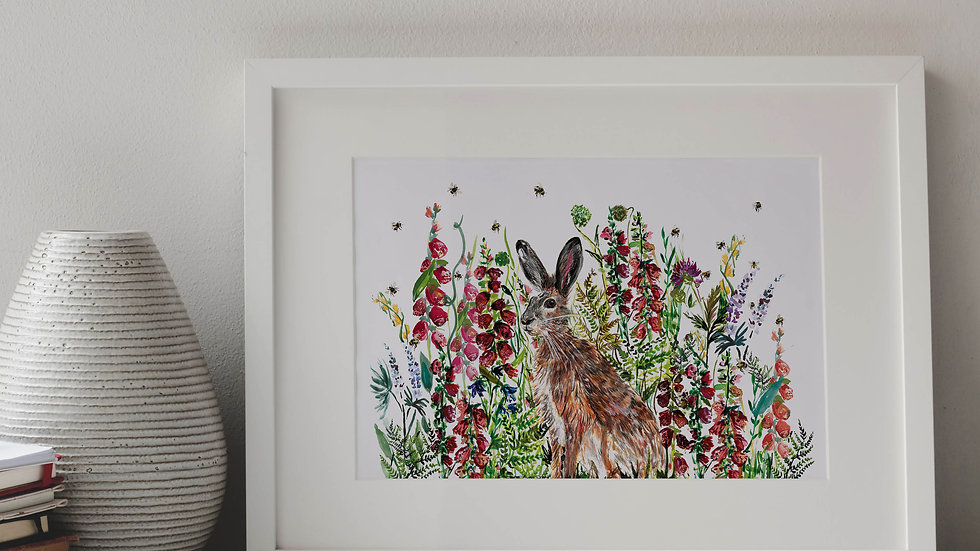 Hare in Wildflowers 2.0 A4 Print