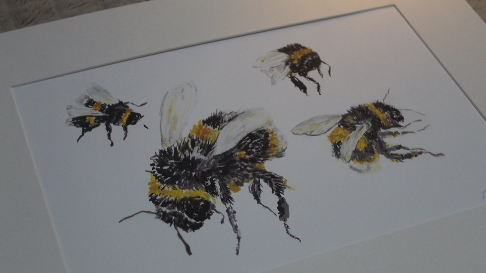 Bees Hovering Print Mounted