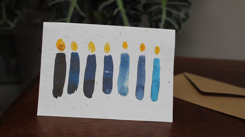 Plantable Greetings Card, Blue Candles