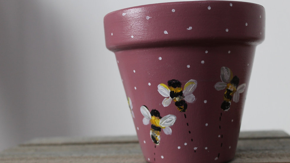 Large hand painted plant pot pink bees