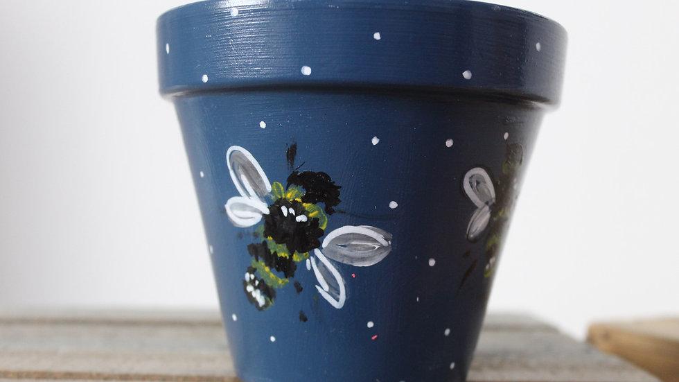 Seconds sale painted plant pot, blue bees