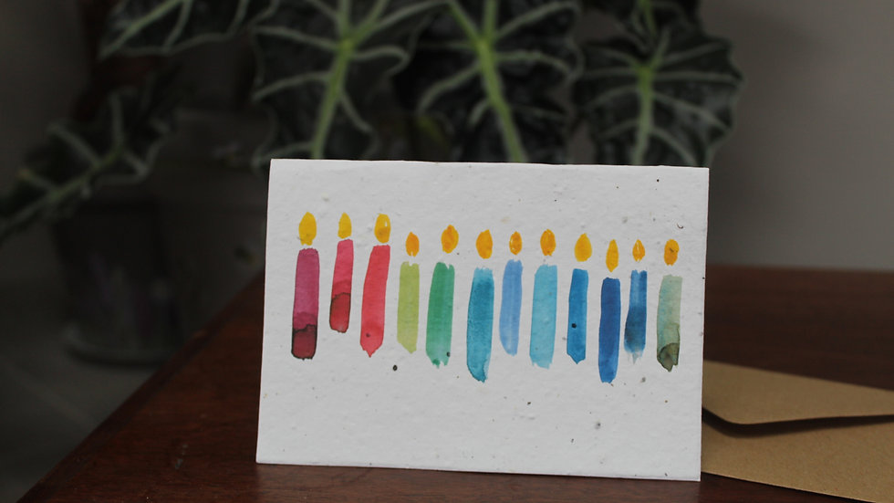 Plantable Greetings Card, Rainbow Candles