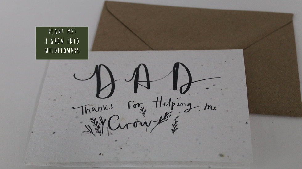 Plantable fathers Day Card, Thankyou for helping me grow