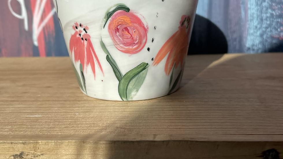 Tiny hand painted plant pot