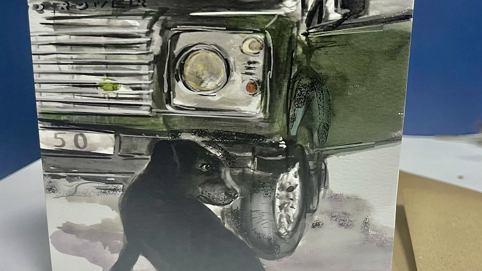 Landrover and dog square greeting card