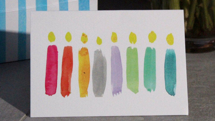 Multi Coloured Candles Card