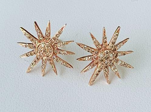 14k rose gold diamond starburst earrings