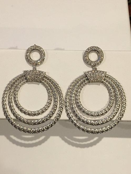 14k white gold multi circle diamond earrings