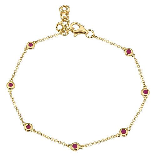 14k yellow gold ruby by the yard bracelet
