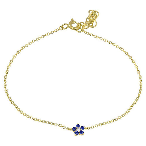 14k yellow gold sapphire and diamond flower bracelet