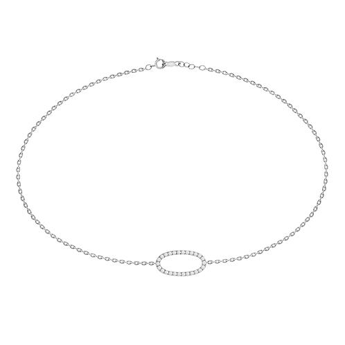 14k white gold oval diamond bracelet