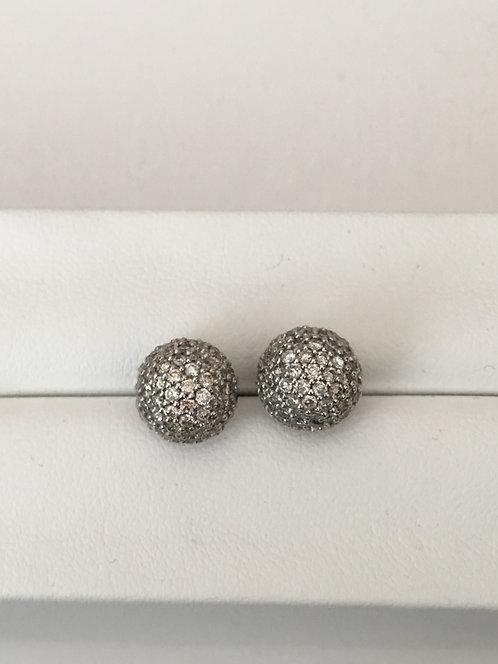 14k white gold pave diamond ball earrings