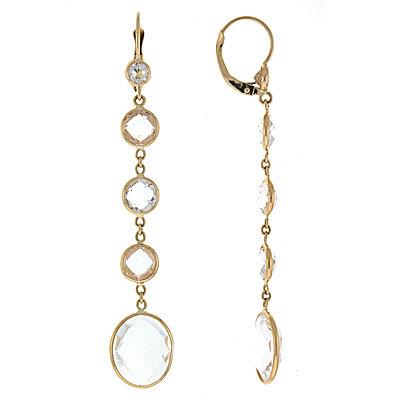 14k yellow gold quartz earrings