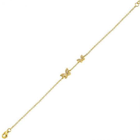 14k yellow gold double diamond butterfly bracelet
