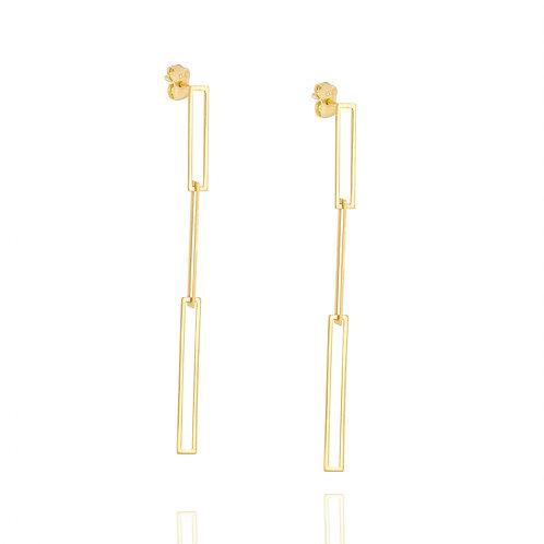 14k yellow gold long paper clip earrings