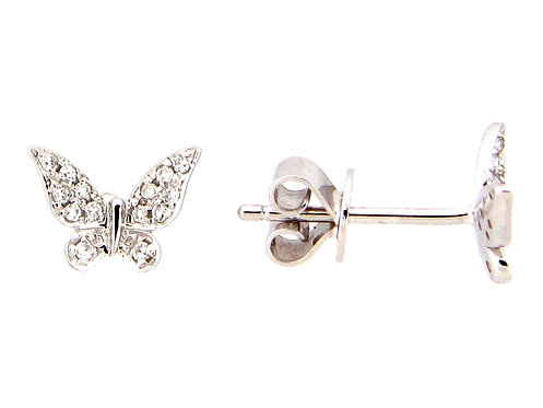 14k white gold diamond butterfly earrings