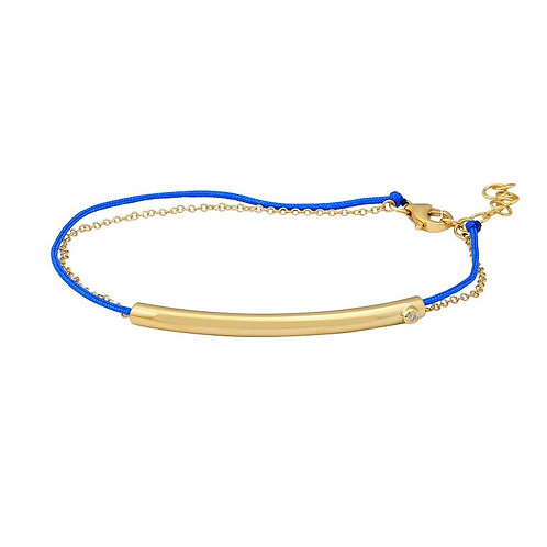 14k yellow gold bar bracelet with diamond accent on blue or red bracelet