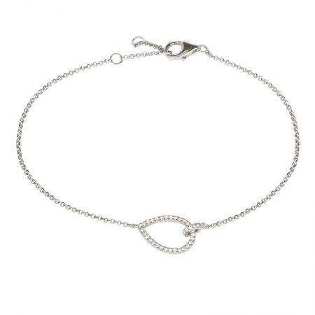 14k white gold pear shape diamond bracelet