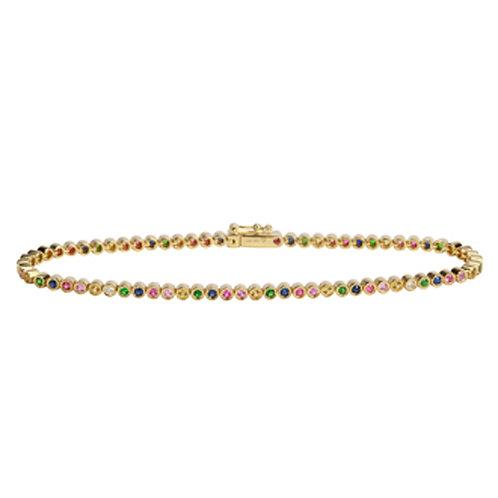 14k yellow gold rainbow tennis bracelet