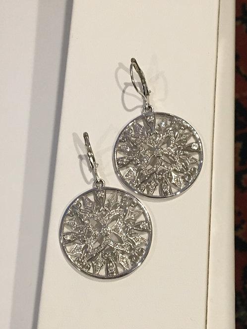 14k white gold circle diamond earrings