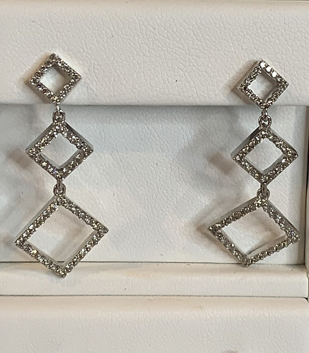 14k white gold geometric diamond earrings