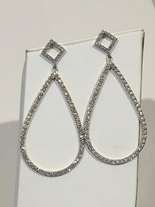 14k white gold large oval drop diamond earrings