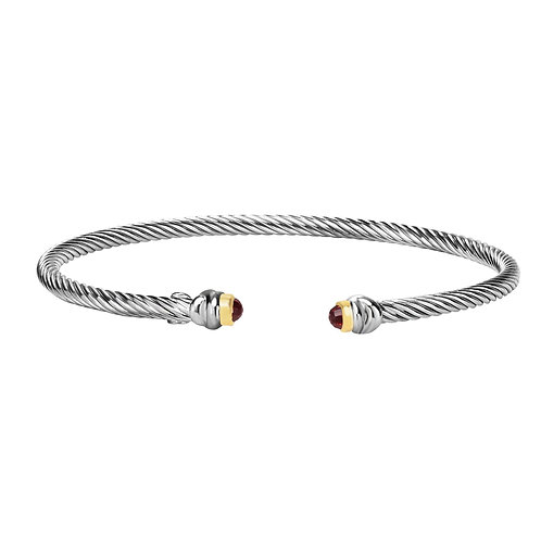 Sterling Silver bangle bracelet with 18k yellow gold accent and Garnet stone