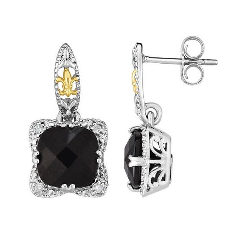 Sterling Silver with onyx and diamond earrings
