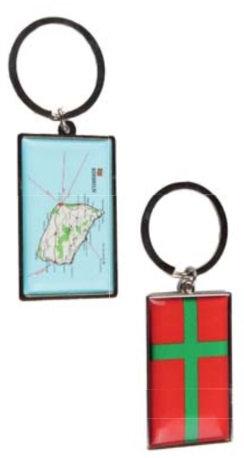 Nøglering, Bornholm m/flag og kort