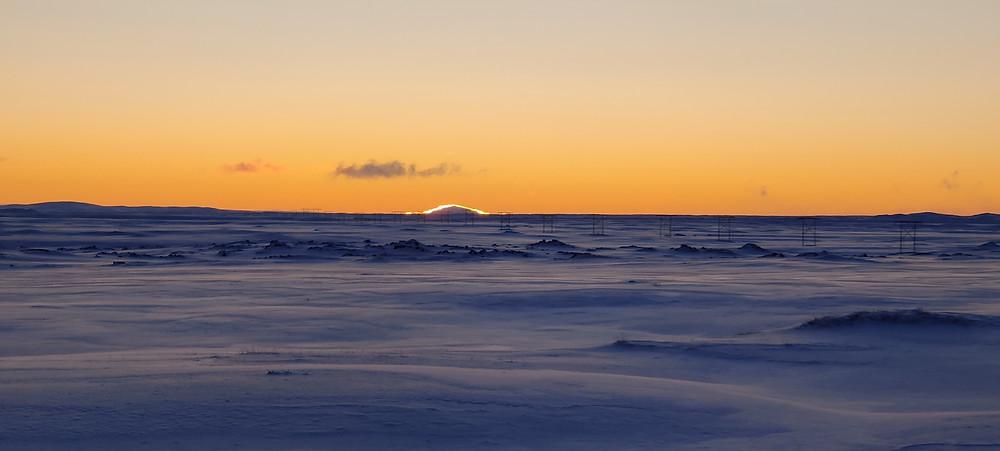 Sólarupprás á Möðrudalsöræfum 30. desember 2019