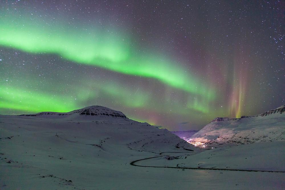Ljósmynd: Gunnar Gunnarsson / Norðurljós yfir Seyðisfirði